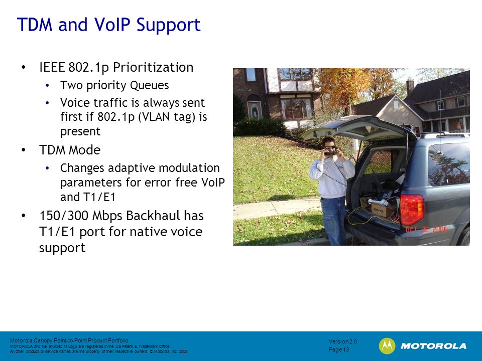 TDM and VoIP Support IEEE 802.1p Prioritization TDM Mode