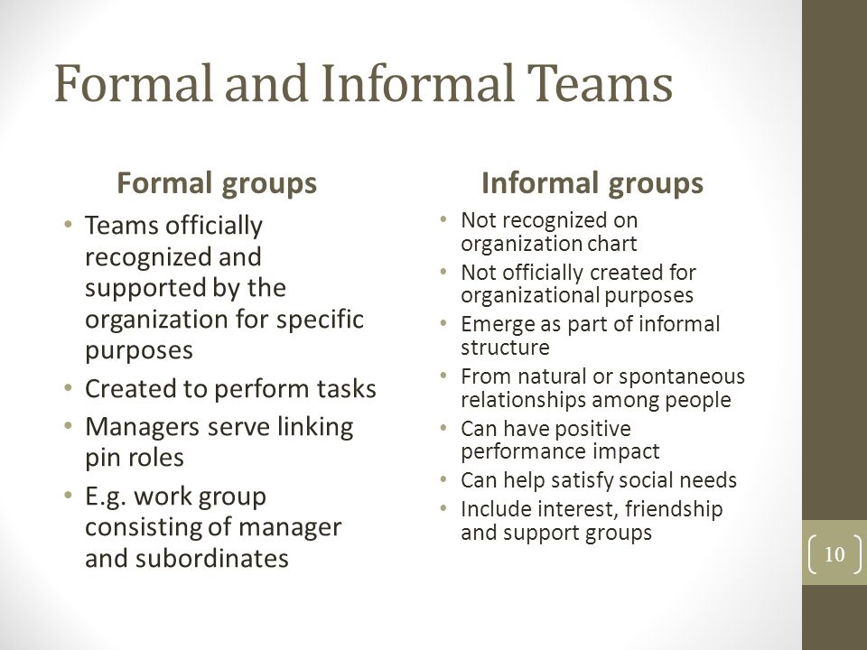 Formal and Informal Teams