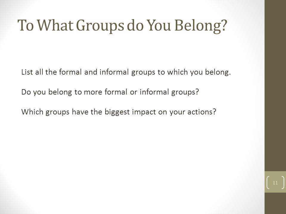 To What Groups do You Belong