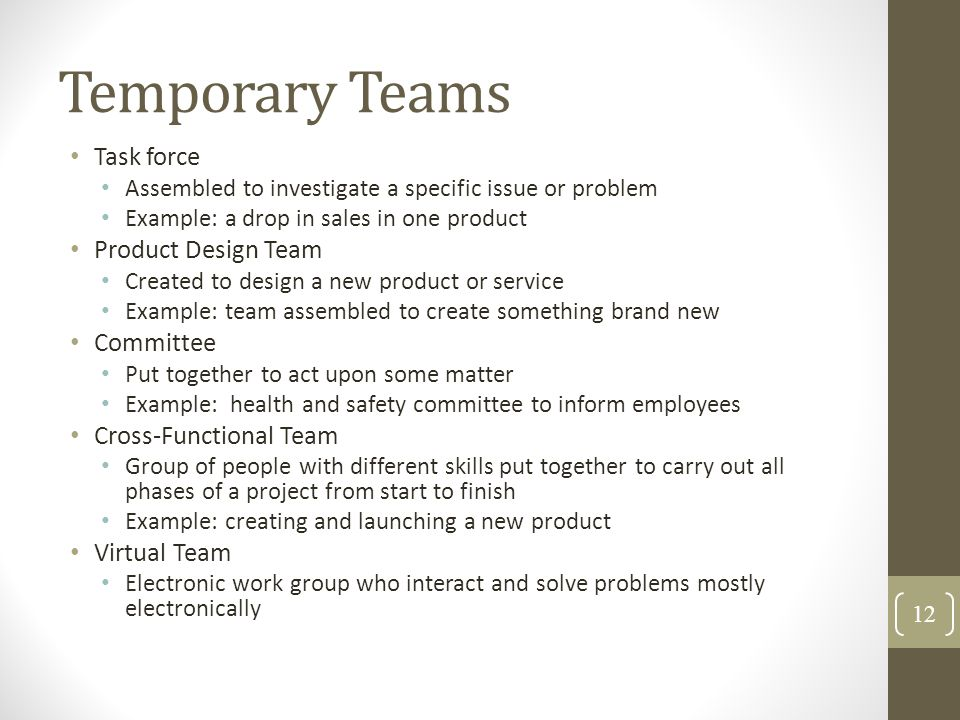 Temporary Teams Task force Product Design Team Committee