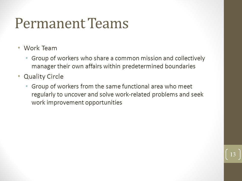 Permanent Teams Work Team Quality Circle