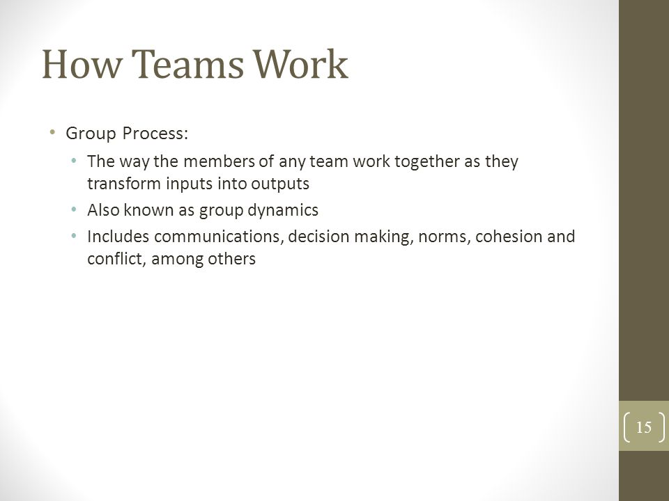 How Teams Work Group Process: