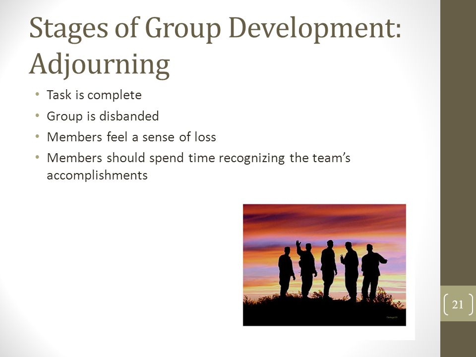 Stages of Group Development: Adjourning