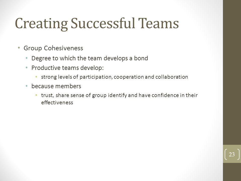 Creating Successful Teams