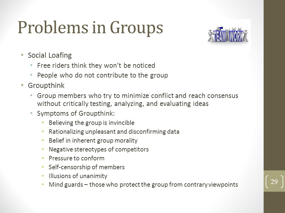 Problems in Groups Social Loafing Groupthink