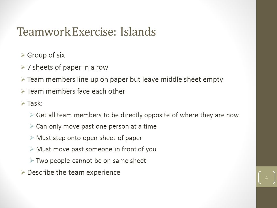 Teamwork Exercise: Islands