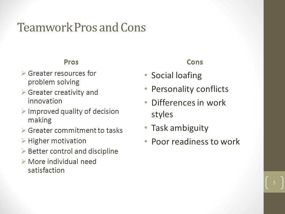 Teamwork Pros and Cons Social loafing Personality conflicts