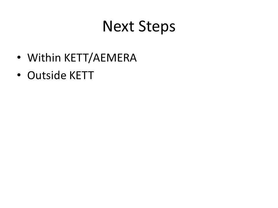 Next Steps Within KETT/AEMERA Outside KETT
