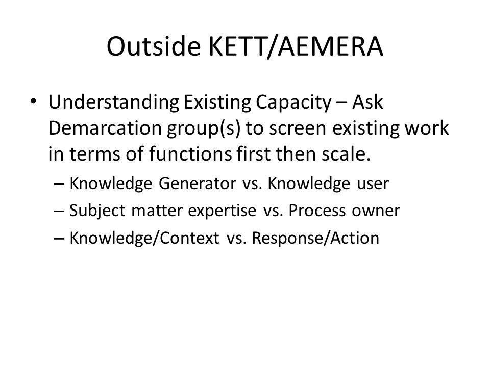 Outside KETT/AEMERA Understanding Existing Capacity – Ask Demarcation group(s) to screen existing work in terms of functions first then scale.