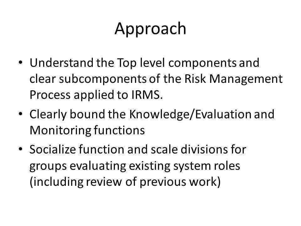 Approach Understand the Top level components and clear subcomponents of the Risk Management Process applied to IRMS.