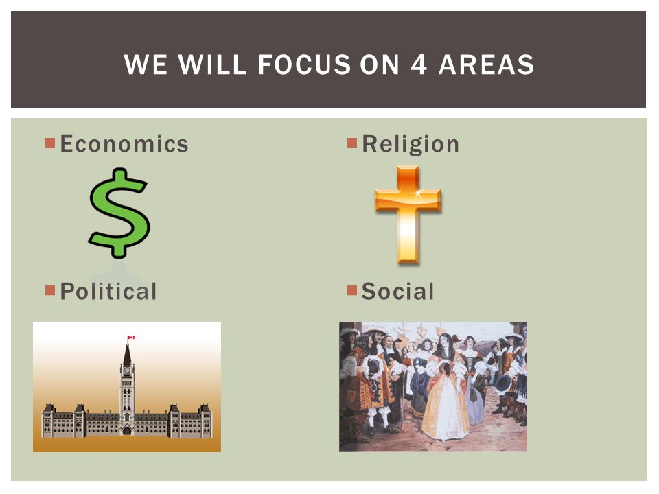 We will focus on 4 areas Economics Political Religion Social