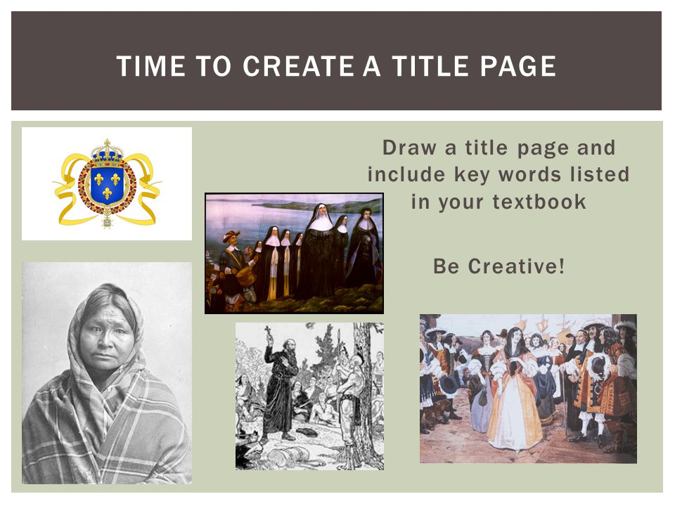 Time to Create a title page