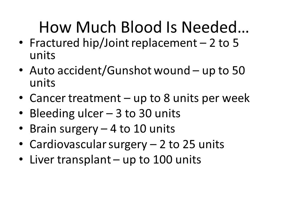 How Much Blood Is Needed…