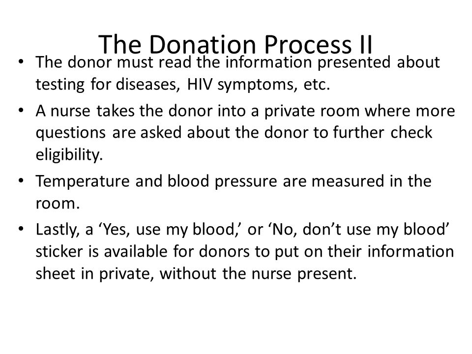 The Donation Process II