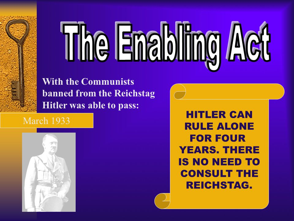 The Enabling Act With the Communists banned from the Reichstag Hitler was able to pass: HITLER CAN.