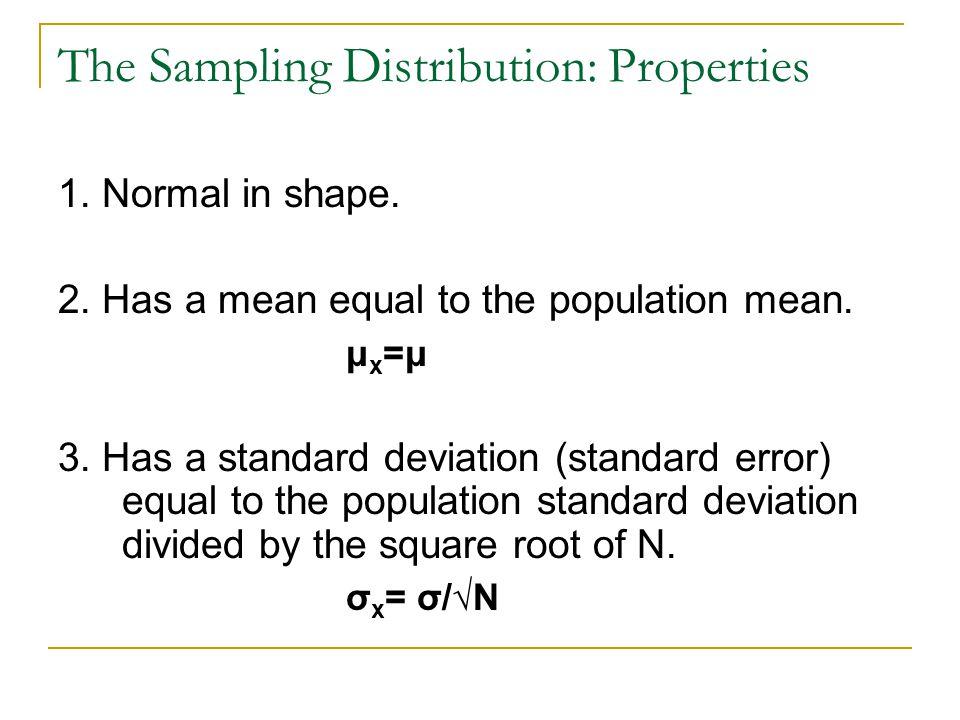 The Sampling Distribution: Properties