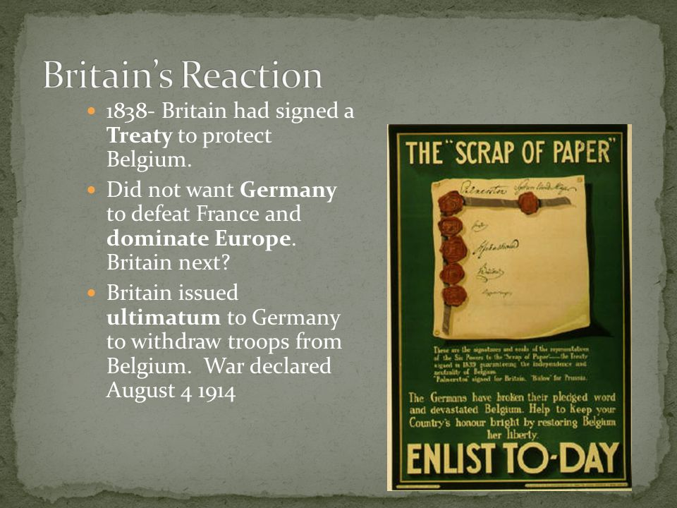 Britain's Reaction Britain had signed a Treaty to protect Belgium.