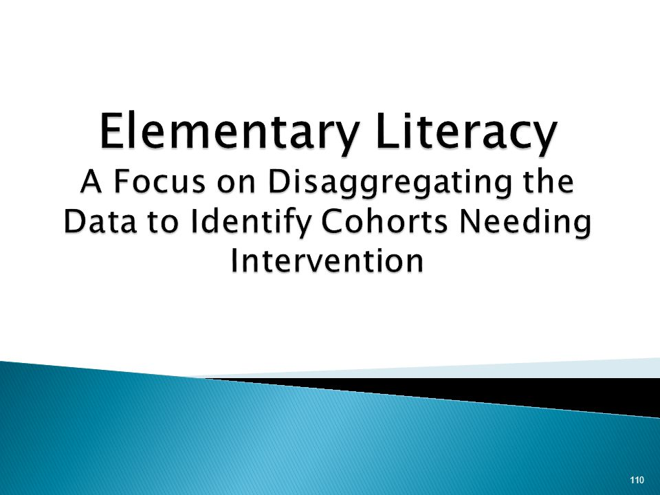 Elementary Literacy A Focus on Disaggregating the Data to Identify Cohorts Needing Intervention