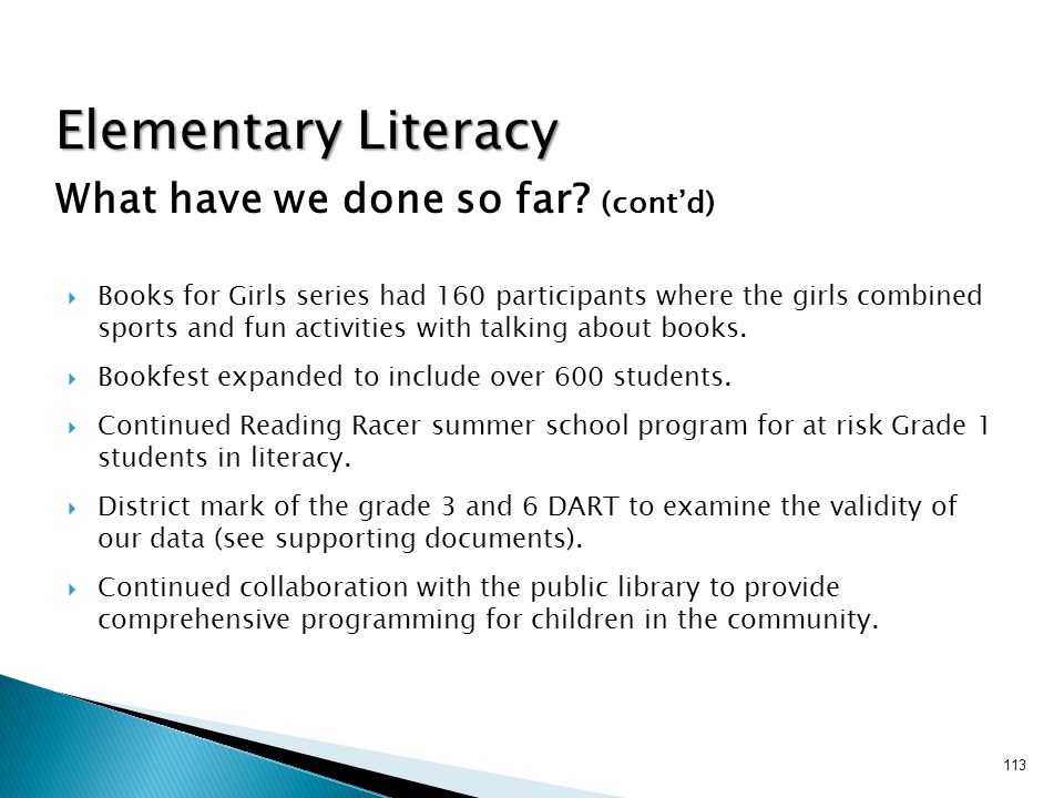 Elementary Literacy What have we done so far (cont'd)