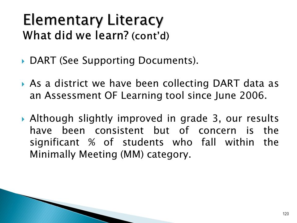 Elementary Literacy What did we learn (cont'd)