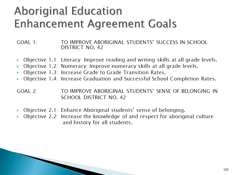 Aboriginal Education Enhancement Agreement Goals