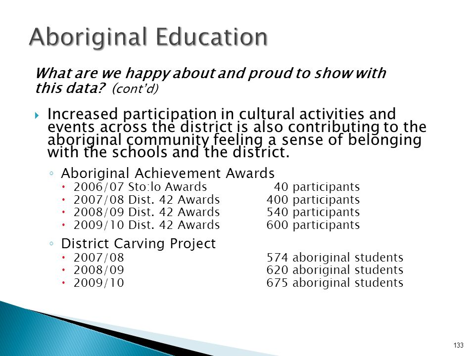 Aboriginal Education What are we happy about and proud to show with. this data (cont'd)