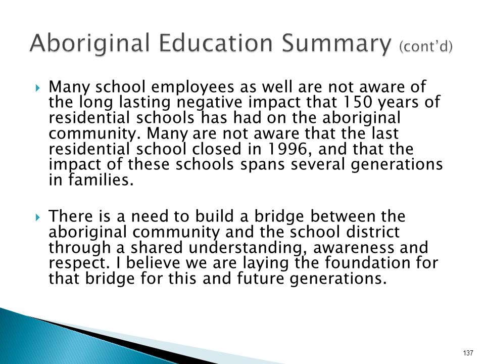 Aboriginal Education Summary (cont'd)