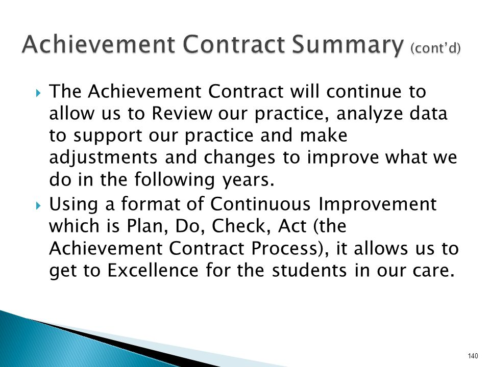 Achievement Contract Summary (cont'd)