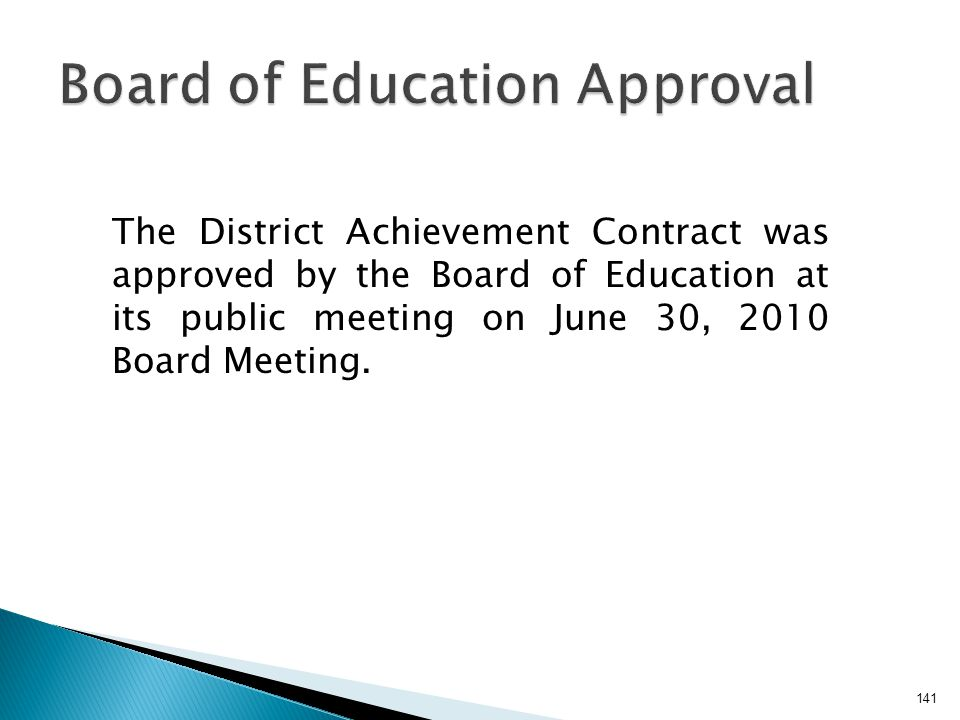 Board of Education Approval