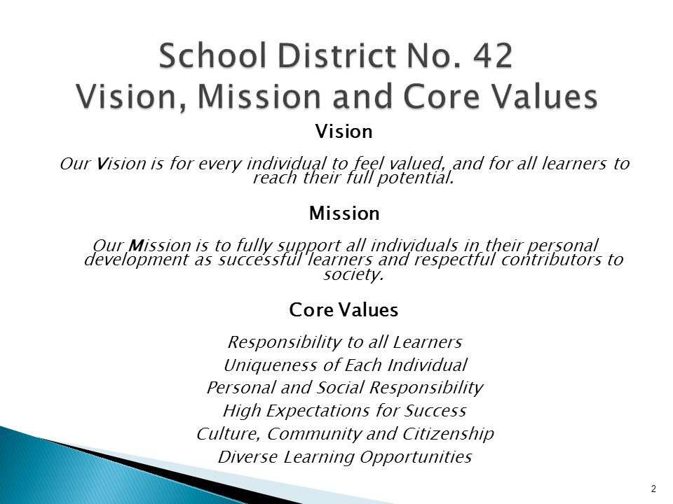 School District No. 42 Vision, Mission and Core Values