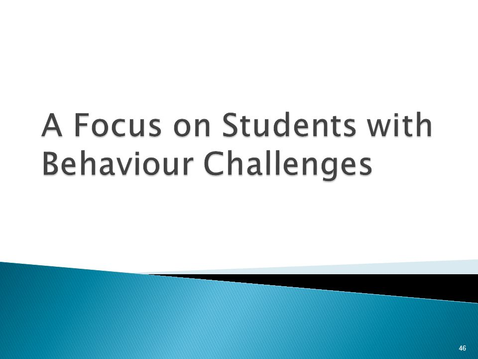 A Focus on Students with Behaviour Challenges
