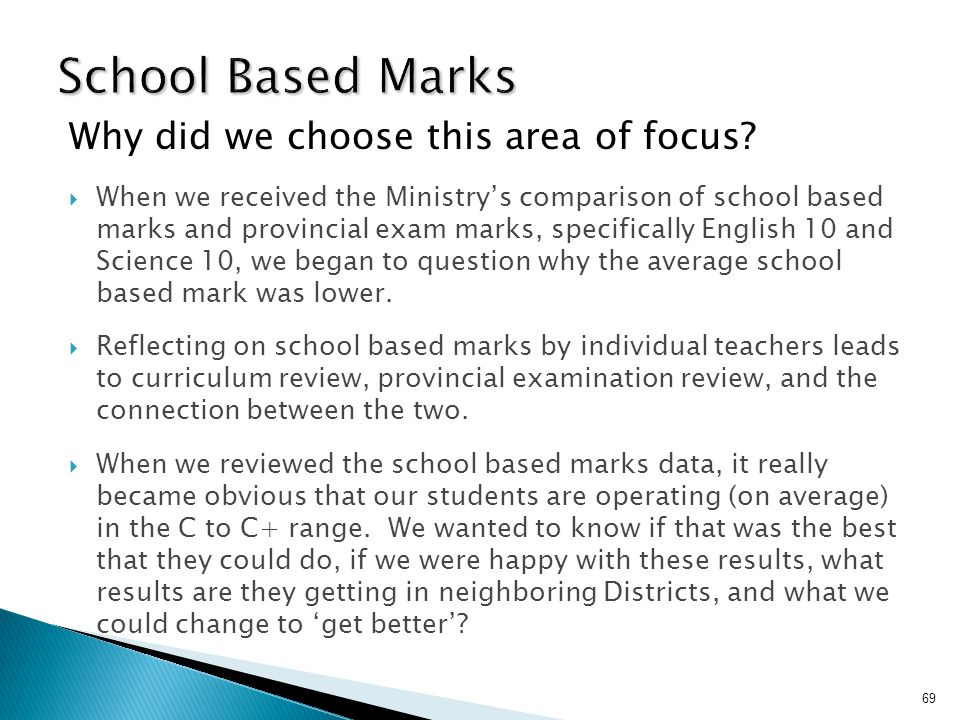 School Based Marks Why did we choose this area of focus