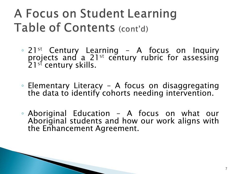 A Focus on Student Learning Table of Contents (cont'd)