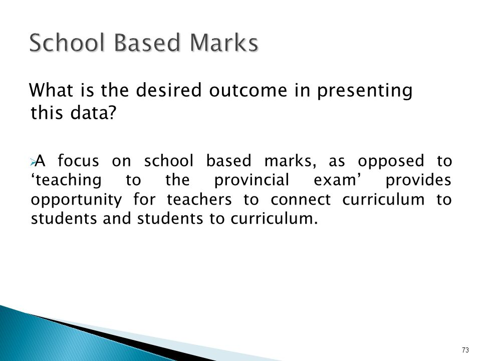 School Based Marks What is the desired outcome in presenting this data