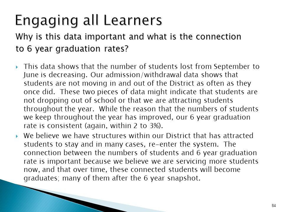 Engaging all Learners Why is this data important and what is the connection. to 6 year graduation rates