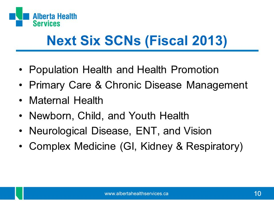 Next Six SCNs (Fiscal 2013) Population Health and Health Promotion