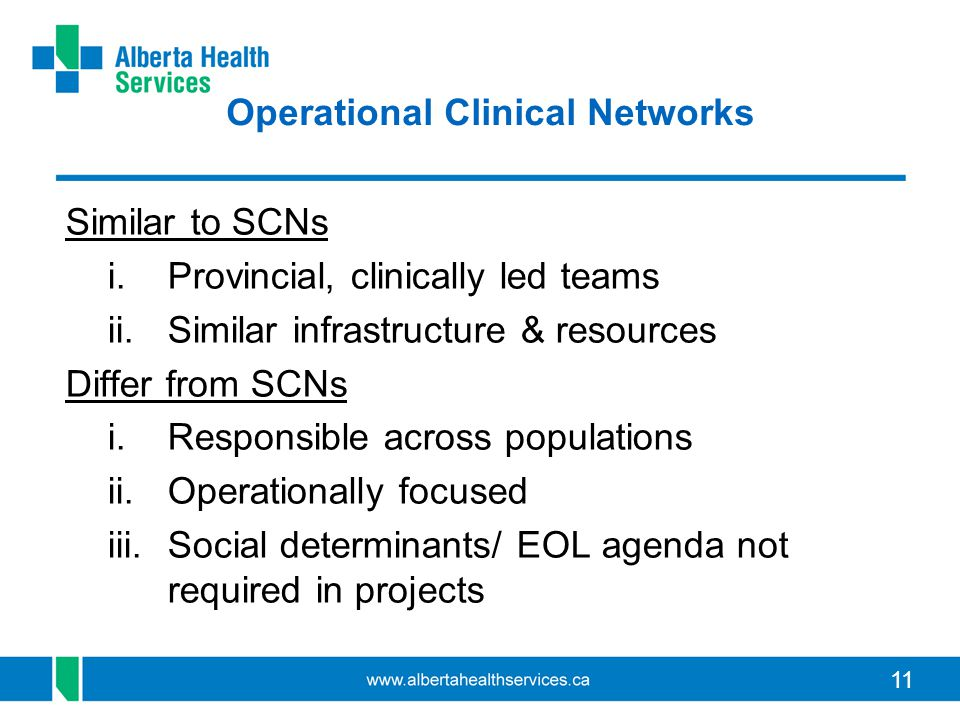 Operational Clinical Networks