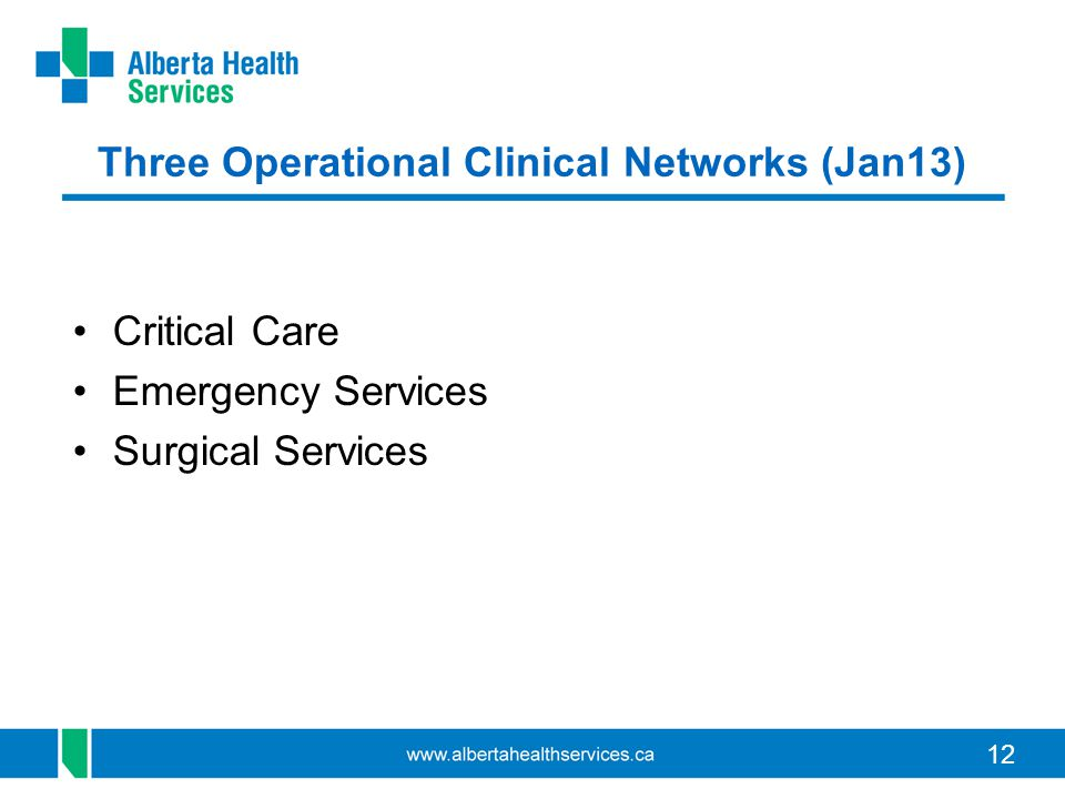 Three Operational Clinical Networks (Jan13)