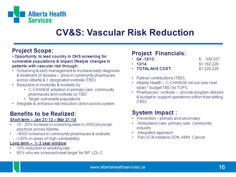 CV&S: Vascular Risk Reduction