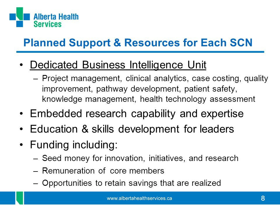 Planned Support & Resources for Each SCN