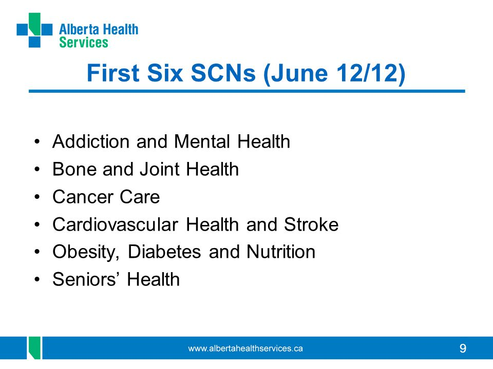 First Six SCNs (June 12/12) Addiction and Mental Health