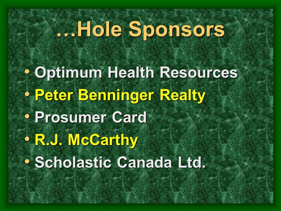 …Hole Sponsors Optimum Health Resources Peter Benninger Realty