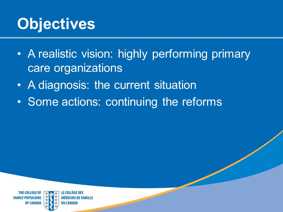 Objectives A realistic vision: highly performing primary care organizations. A diagnosis: the current situation.