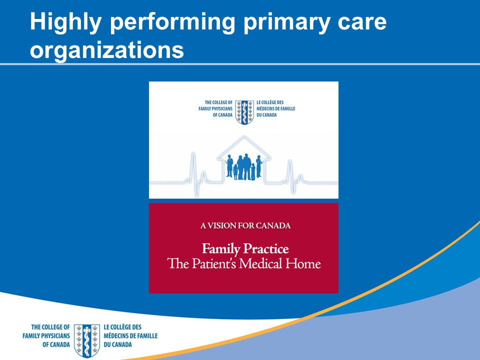 Highly performing primary care organizations