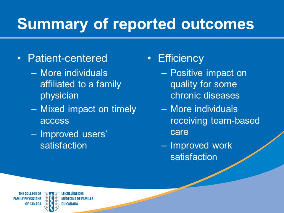 Summary of reported outcomes