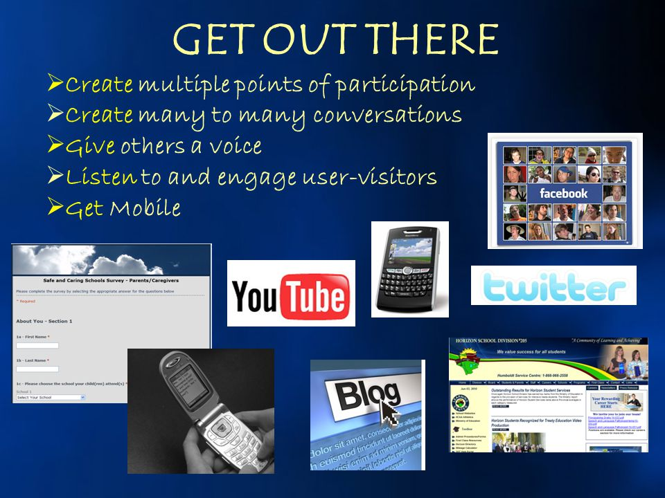 GET OUT THERE Create multiple points of participation