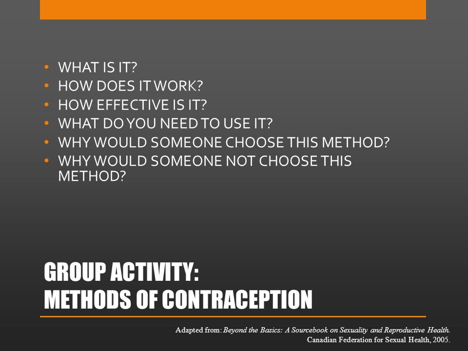 GROUP ACTIVITY: METHODS OF CONTRACEPTION