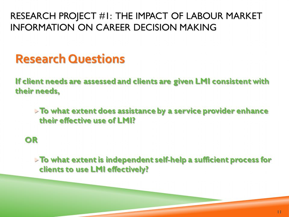 Research Project #1: The Impact of Labour Market Information on career decision making