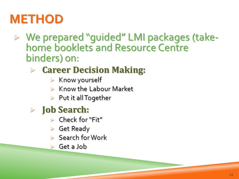 Method We prepared guided LMI packages (take- home booklets and Resource Centre binders) on: Career Decision Making: