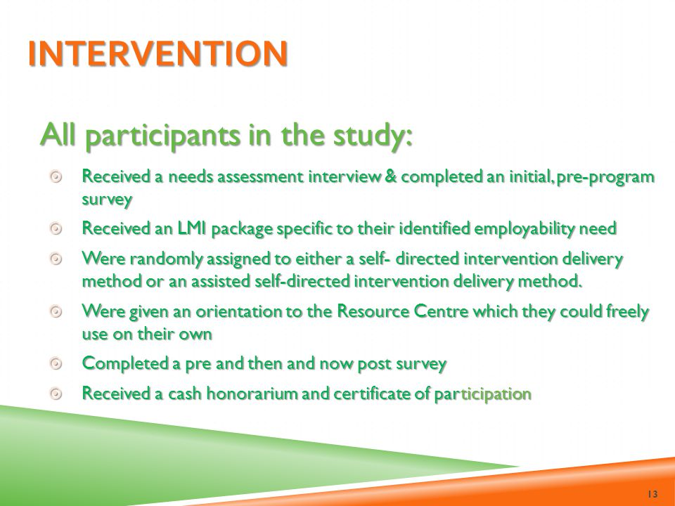 Intervention All participants in the study: